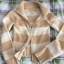 A&F Hollister Wool Sweater Jacket Outerwear Zipper Beige M Abercrombie & Fitch