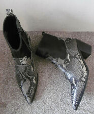 Topshop Black BLISS Snake Effect Heeeled Western Ankle Boots Size UK 5 EU 38