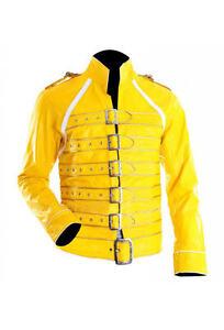 Mens Stylish Freddie Mercury Concert Strap Yellow Synthetic Leather Jacket