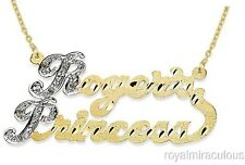 Personalized Diamond 2 Name Nameplate Necklace 20MM Yellow Gold Plated.