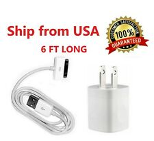 Home Wall AC Charger + 6FT 30 pin Data Sync USB Cable for iPhone 3G 4 ipod Nano