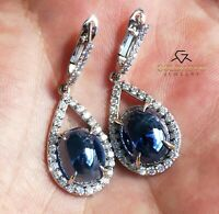 Earrings Sapphire Diamond Gold 14K Natural GIA Certified 15.4CTW RETAIL $13,800