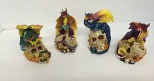"Dragon Poly Resin figure Set Of 4 Light Up 4.5"" Scull Head Free shipping"