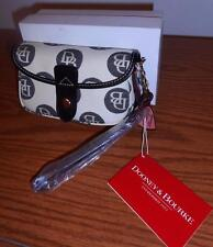 "DOONEY & BOURKE CREAM & BLACK ""DB"" FLAP WRISTLET-STYLE #WL20 O1-BNWT & BNIB"