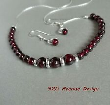 GARNET 925 Sterling Silver set of Necklace and Earrings  January Birthstone