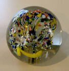 Vintage+Hand+blown+Glass+Paperweight++Multi-Trumpet+Flowers+w%2F+Bubbles