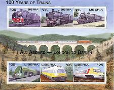 Liberia 2003 Gomma integra, non linguellato di 100 anni di Treni Londra a Berlino 6v M/S FERROVIE FRANCOBOLLI