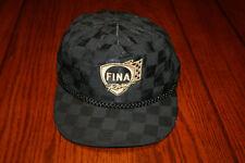 Vintage Fina Racing Adjustable Leather Strapback Black Baseball Cap Trucker Hat