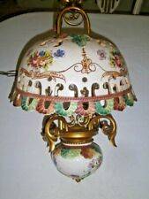 Vtg Hanging Swag Lamp Ceramic Hand Painted NO hardwire French Country | Tuscany