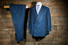 BESPOKE CANVASSED DOUBLE BREASTED SUIT 44S 40W 30L NAVY COUCH & HOSKIN