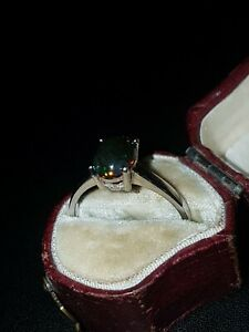 Black Opal solitaire Ring red green blue  fire size R to S.beautiful