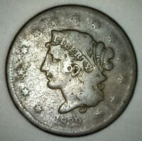 1839 Coronet Large Cent US Copper Type Coin Newcomb Variety Very Good 1c