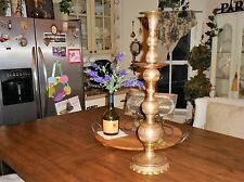 """Vintage 26"""" TALL Brass Church Pillar Candle Holder Etched Ornate Candle Stick"""