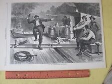 Vintage Print,LIFE ON RAFT#3,Harpers,Oct.1873,Canal