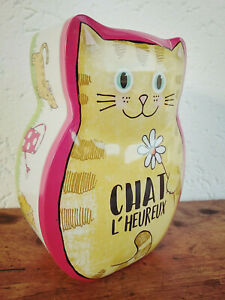 Jolie tirelire chat en métal  Chat l'heureux  15,5x11,5cm cadeau,déco maison