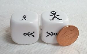 Dice>(2) Koplow 22mm Attributes - *Large & Small* - Opaque White w/Black Figures