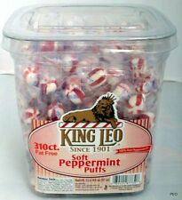 King Leo Soft Peppermint Candy Balls 310 Ct Tub Puffs Bulk Candies Mint Mints