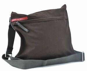 Authentic PRADA Sports Polyester Shoulder Cross Body Bag Brown E3458