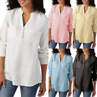 Womens V Neck Casual Long Sleeve Summer T Shirt Blouse Tunic Tops Tee Plus Size