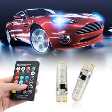 2X T10 W5W RGB LED Bulb 5050 6SMD Remote Control Flash Strobe Wedge Light ST743