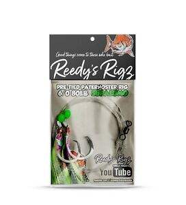 4x Snapper Rig Tied Flasher Rigs Paternoster 6/0 SupaLumo Reedy's Rigz