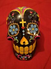 Collectible Floral Skull 4 Inches Tall Piggy Bank - Still Registers Vending