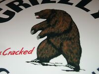 "VINTAGE GRIZZLY BEAR GASOLINE DUBBS CRACKED 11 3/4"" PORCELAIN METAL GAS OIL SIGN"