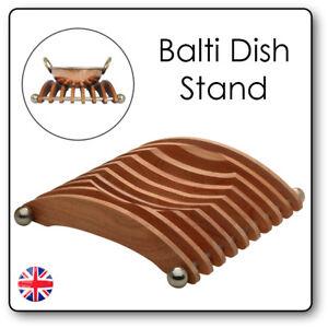 Balti Karahi Curry Serving Dish WOODEN Wok STAND Kadai Indian Restaurant Wood