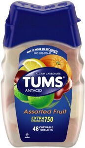 TUMS Extra Strength 750 Antacid/Calcium Supplement Assorted Fruit - 48 Chewables