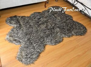 Black Tip Coyote Bearskin Area Rug Accents Faux Fur Decors Large Size Throw Rugs