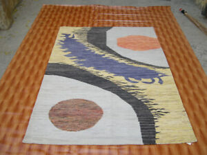 Genuine 4x6 ft Handmade Afghan Nomadic Morden Yellow Wool Small Kilim Rug mat