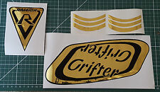 "Raleigh ""SUPER GRIFTER"" bike decals/sticker set (MIRROR GOLD CHROME on BLACK)"