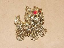 Vintage Filigree Goldtone Cairn Terrier Dog Pin Brooch w/ Red Glass Eyes 1.75""