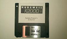 KURZWEIL K2000-FACTORY programmes & Demos disquette. K2000r K2500 K2600 Reset