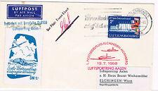 1958. Luxemburgo a Alemania. Sobre circulado con sello y tema planeadores