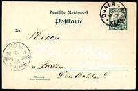GERMANY CAMEROON TO BERLIN DUALA Cancel on Postal Stationery 1901 VF