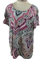 Croft & Barrow knit top Size XL pink white paisley short sleeve stretch