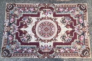 """Vintage 6' X 9' Aubusson Needlepoint Rug Burgundy Shabby Chic Floral 106"""" By 70"""""""