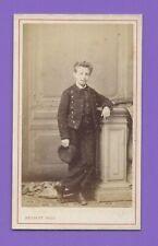 Photo CDV 1870 HERBERT BEAUVAIS Enfant Garçon en uniforme de collégien A167
