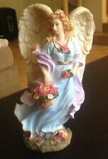 Youngs Guardian Angel Statue Basket Flowers Sparkle Wings