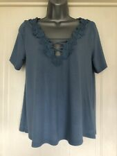 ❤️ TOPSHOP Ladies Size 10 Cornflower Blue T Shirt Blouse Floral Detail VGC