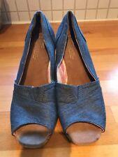 cc33b57d3b3 Toms Women s Size 9.5 Denim Peep Toe Wedge Stella Cork Shoe