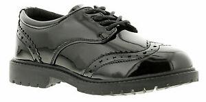 Girls Womens work Boots Smart Black Patent Brogue Lace Up School Shoes Size UK