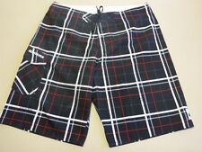 115 MENS EX-COND QUIKSILVER BLACK / RED / WHITE CHECK BOARDSHORTS 36 $80.