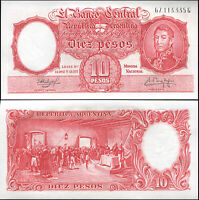 ARGENTINA BILLETE 10 PESOS. ND (1961) LUJO. Cat# P.270c [serie G]