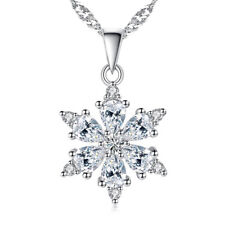 MUYE 925 Sterling Silver Crystal CZ Pendant Necklace Snowflake Style For Women