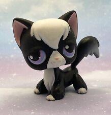 Littlest Pet Shop Authentic No # Black White Puzzle Angora Cat Purple Eyes