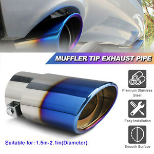 Round Car Exhaust Pipe Tip Rear Tail Throat Muffler Stainless Steel Accessories