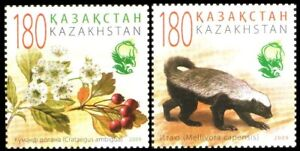 1028 - Kazakhstan - 2009 - Animals and Plants flowers Red Book Extinct Species