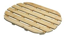 Bamboo Wood Wooden Slatted Duck Board Oval Shape Bathroom Bath Shower Mat Modern